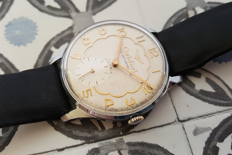 Cortebert dress watch with Unitas 6325 movement